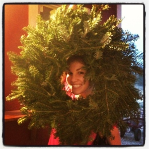 Haley modeling her wreath