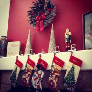 Our stockings over the fireplace