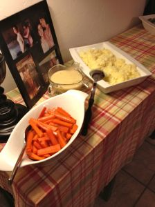 Glazed carrots, homemade gravy and homemade mashed potatoes