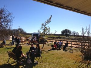 It was a beautiful day on Saturday, so there were people outside each vineyard enjoying wine and snacks