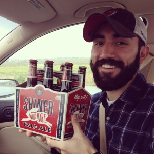 Alex with our (Target) Shiner beer