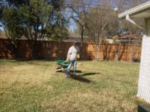 Stalking Chip from the kitchen while he fertilized the yard. I was probably cooking or doing dishes like a good wife.
