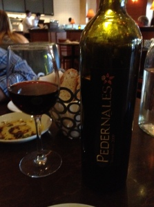 Wine from Pedernales with dinner