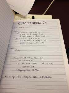Notes for our time in Nantucket