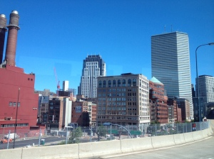 Our view as we rode through Boston