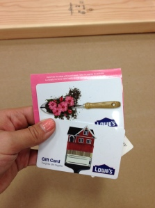 We love Lowe's gift cards