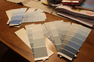 I carried the paint chips around everywhere for a couple of weeks. Some of them are now bookmarks. Good recycling, right?