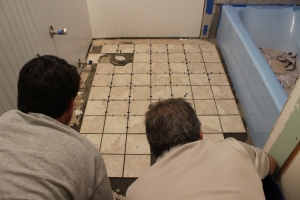 10:00PM and tiling the floor