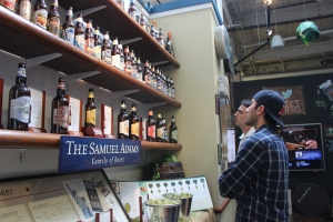 Checking out all the Sam Adams beer