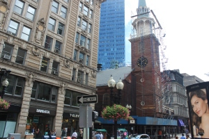The building with all of the scaffolding is where the early Bostonians met before the Boston Tea Party