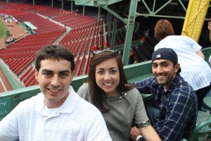 Enjoying our seats on the Green Monster