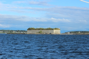 Sailing past Fort Gorges