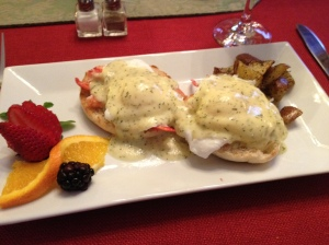 Eggs Benedict over lobster