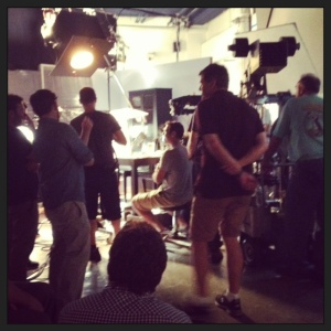On set in New York