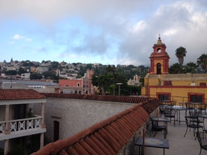 Our view from the hotel in Bernal in Mexico