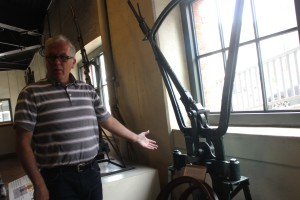 Dad figuring out the cable car brakes