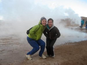 Freezing our bums off at El Tatio Geysers