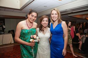 With Kam and Caitlin at our wedding. Kam caught the bouquet!