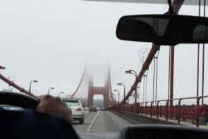 Foggy view on the Golden Gate Bridge