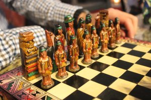 Alex found the old chess set I bought for him in Chile. Hooray for family chess games with llamas and conquistadors.