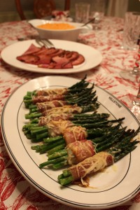 One of the best parts of our Christmas Eve dinner: prosciutto wrapped asparagus