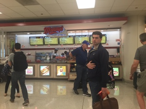 Looking for a place to eat in the Chicago airport... Chip didn't want to eat at a place called Manny's. Ha!